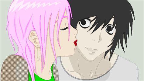 anime couple kiss on cheek lsaku cheek kiss by kezabee on deviantart
