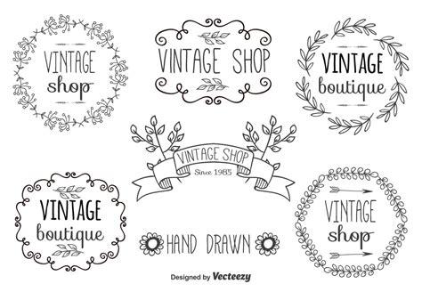 hand drawn label set   vector art stock