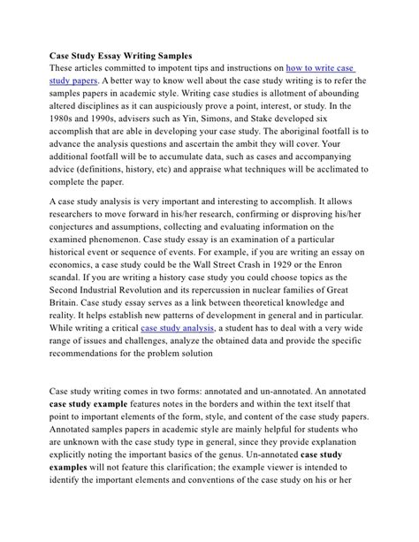 Analyze your samples, build your papers, and get methods: Case study essay writing samples