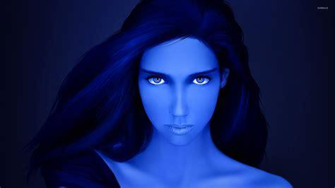 Beautiful Blue Girl With Blue Eyes Wallpaper Digital Art