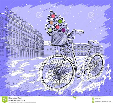 bicycle art christmas tree postcard with bicycle and tree stock vector image 35496318