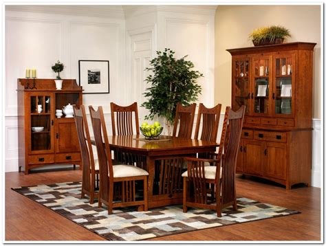 7 Pieces Old Oak Mission Style Dining Room Set With High
