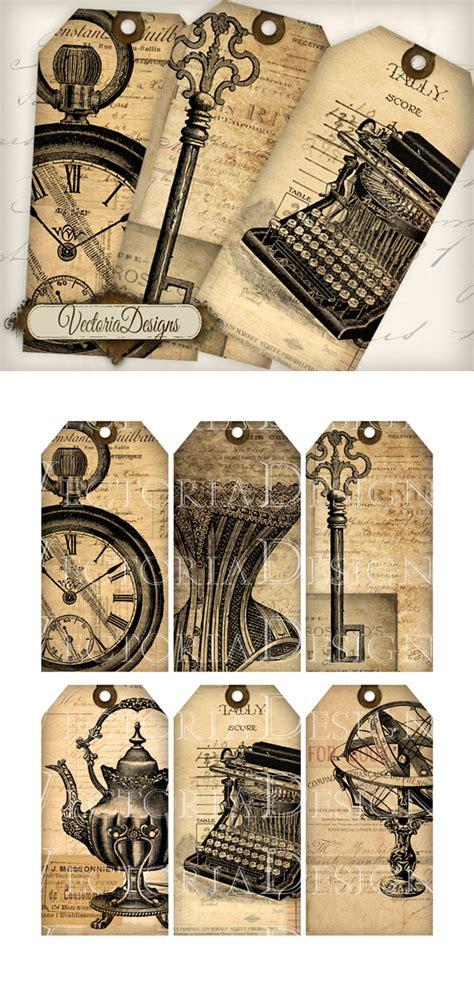 printable vintage ephemera tags  vectoriadesigns