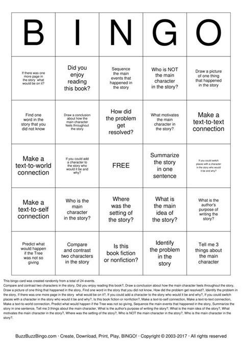 comprehension bingo bingo cards   print