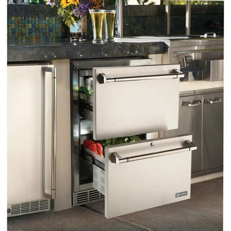 lynx ldwr  outdoor double drawer refrigerator  full extension drawers digital