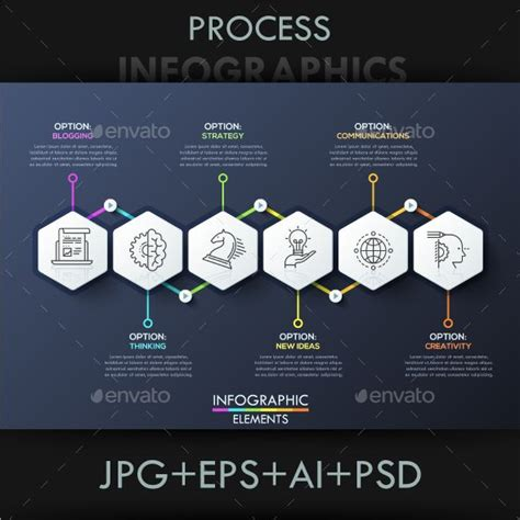 infographic design template   hexagons connected