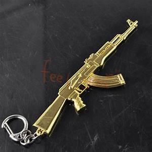 MINI Gun Charm Keychain Key Ring Gold AK47 Assault Rife ...