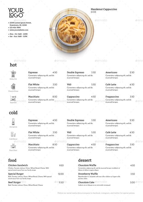 Pour over ice and enjoy the bold taste or add any flavor syrup for your own creation. Minimalist Photography Coffee Menu 2 This menu is suitable for your Coffee Shop, Restaurant ...
