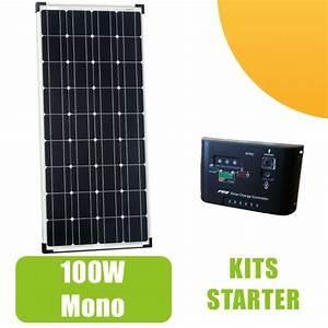 Panneau Solaire 100w : kit panneau solaire monocristallin 100w 12v et r gulateur ~ Nature-et-papiers.com Idées de Décoration