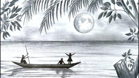 draw scenery  moonlight night scene  pencil