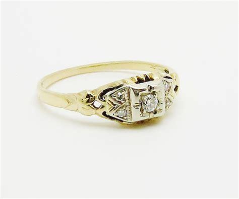 vintage deco wedding ring 14k white yellow gold