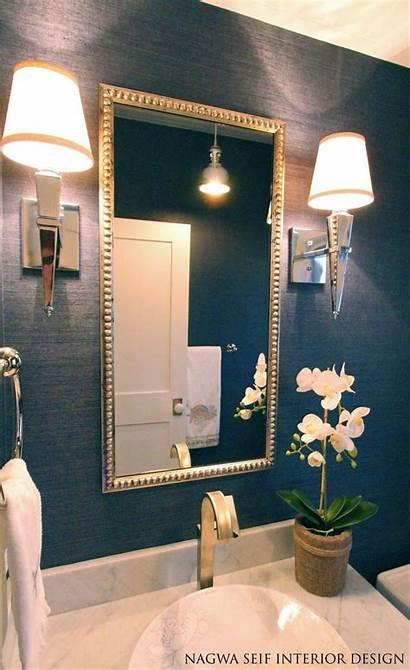Powder Rooms Bathroom Navy Lighting Grasscloth Wall