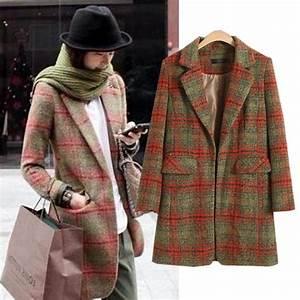 Long Slim Plaid Wool Woolen Women Jacket Coat 2013 Winter