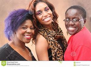 Three Young Black Women Together Smiling Stock Image ...