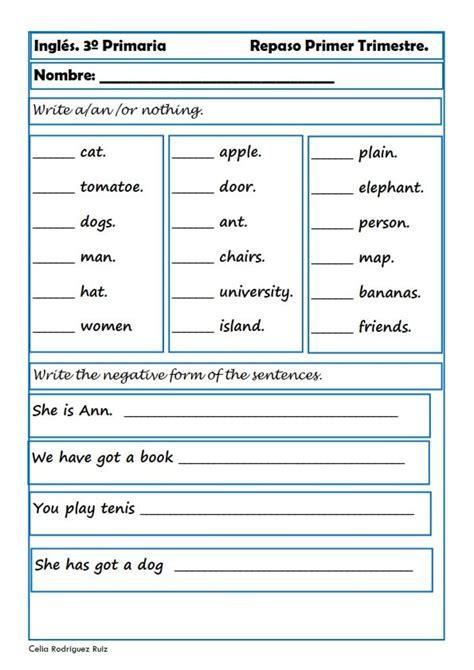 Ejercicios de Inglés para Tercero de Primaria escritorio