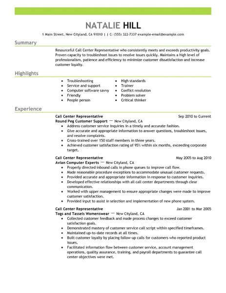 simple call center representative resume exle livecareer