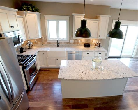 kitchen island l shaped l shaped kitchen layout with an arched overhang on the
