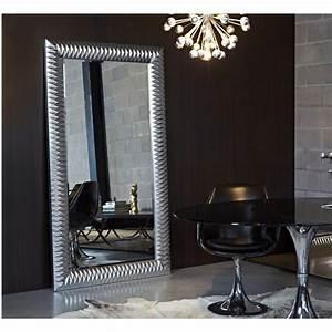 Miroir Rectangulaire Mural : miroirs meubles et rangements hall grand miroir mural finition argent inside75 ~ Teatrodelosmanantiales.com Idées de Décoration