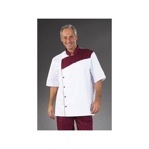 tenue cuisine tenue de cuisine blanche pastron bordeaux manches courtes