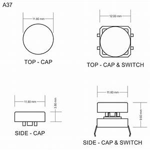 A37 Tactile Cap  U0026 Switch - Momentary Push Button - Round Flat Keycap