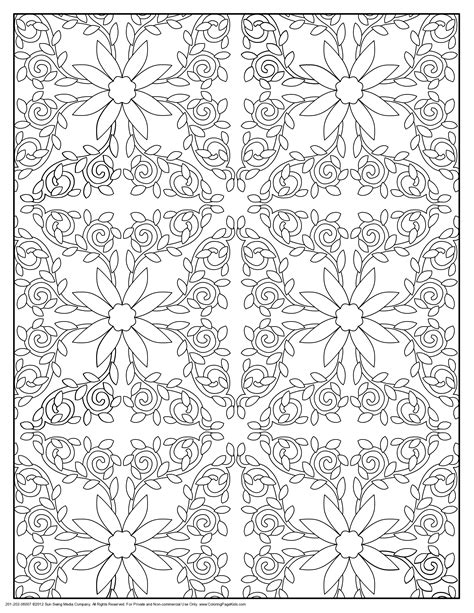pattern coloring pages  sun flower pages