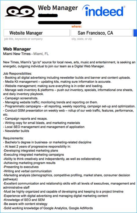 silicon valley website manager job description