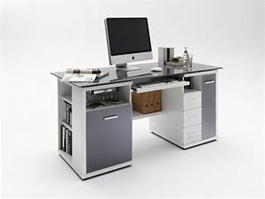 Schreibtisch Weiß Grau : schreibtisch home office glas grau wei hochglanz ebay ~ Frokenaadalensverden.com Haus und Dekorationen