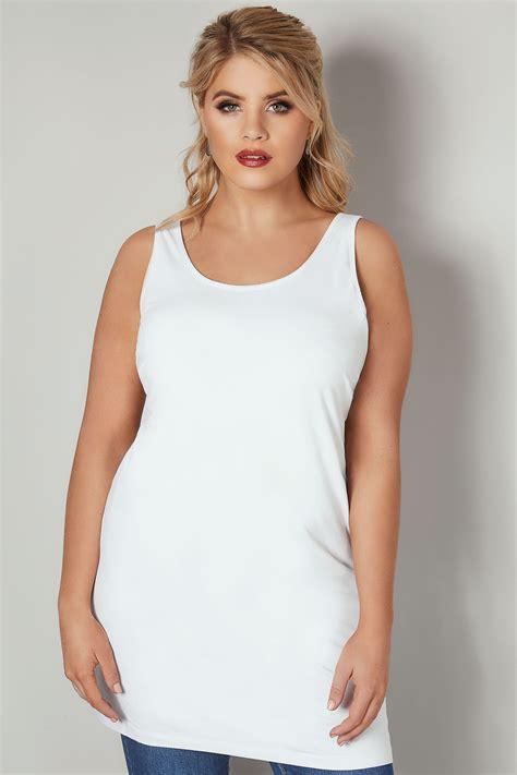 Weißes Longline Unterhemd, In Großen Größen 4464