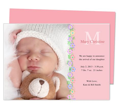 free birth announcement template printable baby birth announcement template design with floral trimming edit easily in word
