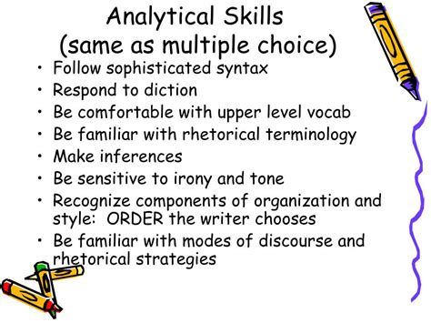 what are analytical skills ppt ap free response essay portion powerpoint
