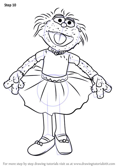 learn   draw zoe  tutu dress  sesame street sesame street step  step drawing