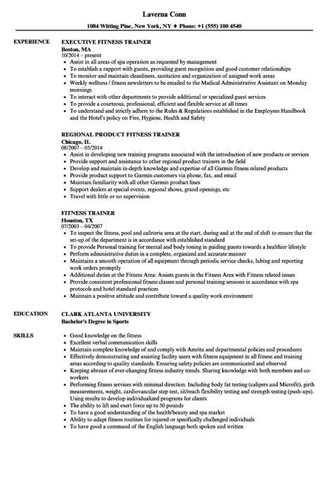 Personal Trainer Resume Exles by Fitness Trainer Resume Sles Velvet