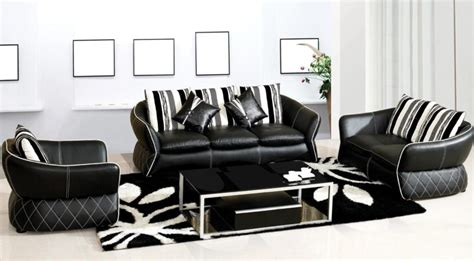 stylish black and white leather sofa for living room