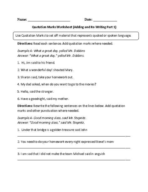 englishlinx quotation marks worksheets englishlinx