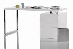 Schreibtisch 100 X 70 : schreibtisch lounge club 140x70 cm weiss hochglanz chrom mit container b rotisch ebay ~ Bigdaddyawards.com Haus und Dekorationen