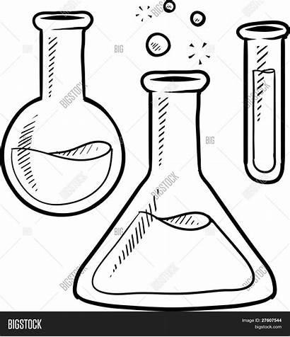 Beaker Science Lab Beakers Doodle Clipart Vector