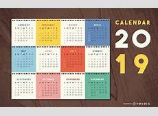 Diseño colorido calendario 2019 Descargar vector