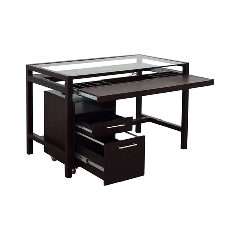wooden office desk with glass top 90 off glass top dark brown wood desk with file cabinet