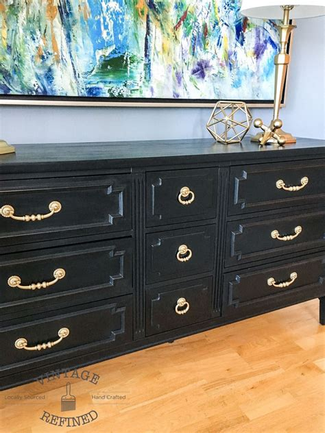 hometalk chic black painted dresser