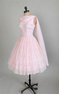 Vintage 1950s Dress : 50s Pink Lace Prom Wedding Dress ...