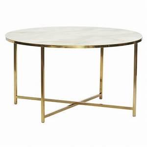 Table Basse Metal Ronde : table basse ronde metal dore verre blanc effet marbre hubsch 020612 ~ Teatrodelosmanantiales.com Idées de Décoration