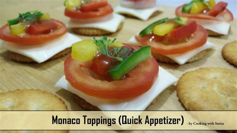 canape biscuit monaco toppings recipe by cooking with smita monaco