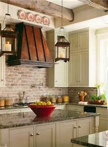 Brick backsplashes rustic and full of charm for Kitchen with brick backsplash