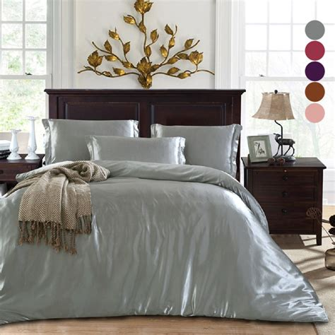 3in1 Luxury Bedding Sets Solid Silk Satin Home