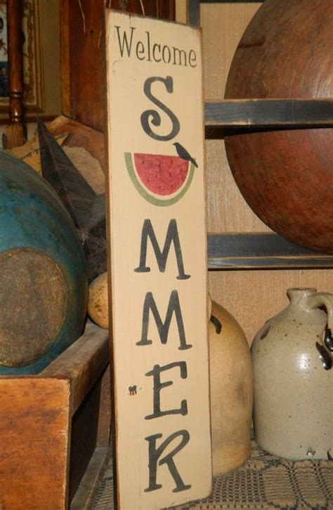 summer vertical watermelon primitive signs sign