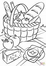Coloring Picnic Pages Basket Printable Drawing sketch template