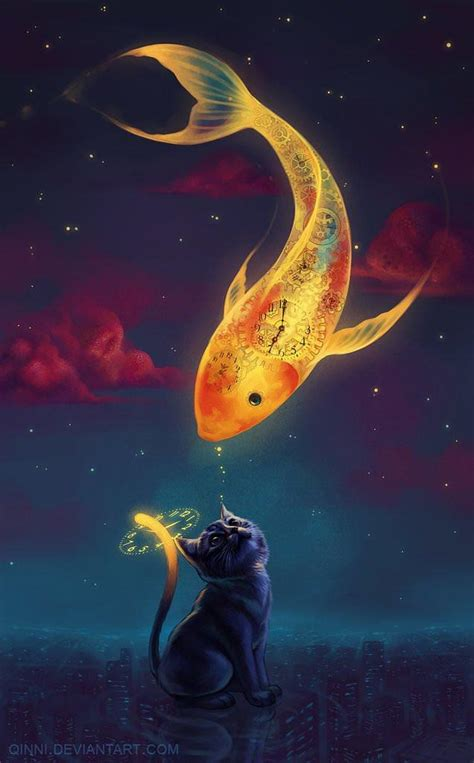 night time cat greets  great golden sky fish