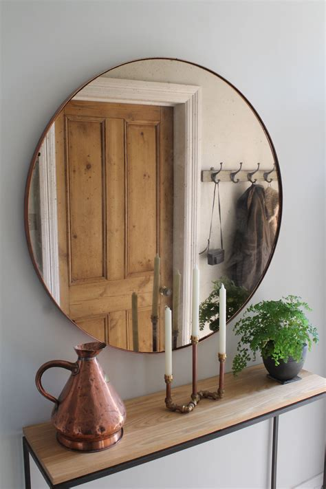 Hallway Furniture, Copper Mirror Over Steel And Oak