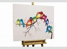 Modernes Gemälde bunte Vögel Tiere auf Ast kaufen KunstLoft