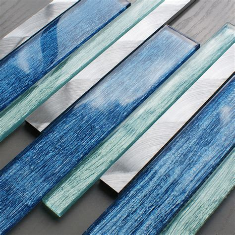 Portland Blue Glass Linear Tile » Mosaic Village